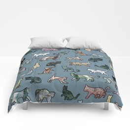 Cats Shapes Marble - Teal Steel Blue Comforters