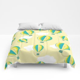 Hot air balloons and clouds - yellow Comforters
