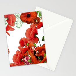 Red Poppies Flowers, Pomegranates & Flamingos Stationery Cards