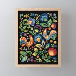 Polish Folk Roosters Framed Mini Art Print