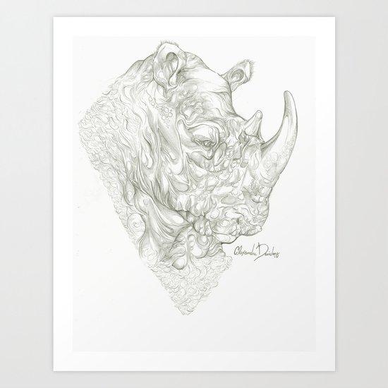 Glum Rhinoceros  Art Print