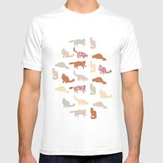 cats pattern Mens Fitted Tee White MEDIUM