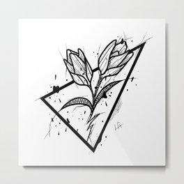 Tulip Handmade Drawing, Made in pencil and ink, Tattoo Sketch, Tattoo Flash, Blackwork Metal Print
