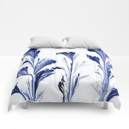 Painted Flowers In Blue Comforters