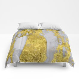 Whipped Cream Marble with 24-Karat Gold Veins Comforters