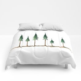 Evergreen forest holiday watercolor Comforters