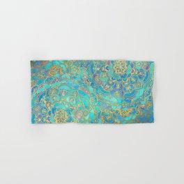 Sapphire & Jade Stained Glass Mandalas Hand & Bath Towel