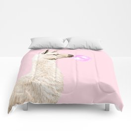 Playful Llama Chewing Bubble Gum in Pink Comforters