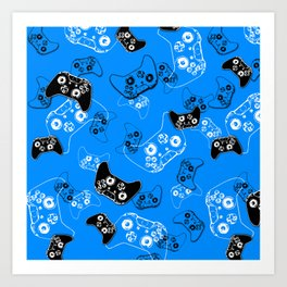 Video Game in Blue Art Print