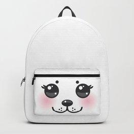 Kawaii funny albino animal white muzzle with pink cheeks and big black eyes Backpack