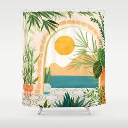 Villa View Tropical Landscape / Villa Series Shower Curtain