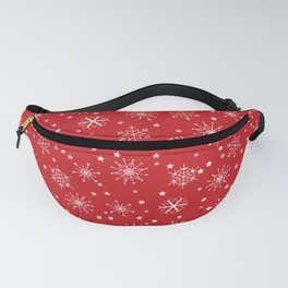 Red & White Snowflakes Pattern Fanny Pack