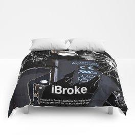 Broken Damaged Cracked out handphone iPhone Comforters