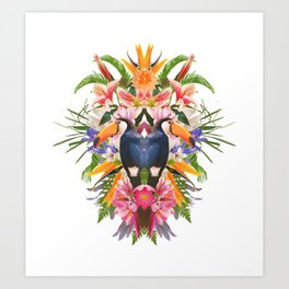 Toucan and flowers Art Print