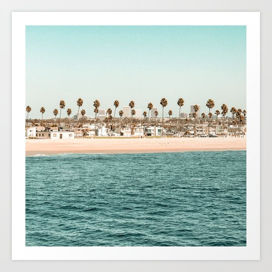 Vintage Newport Beach Print {1 of 4} | Photography Ocean Palm Trees Teal Tropical Summer Sky by palmtreeprints