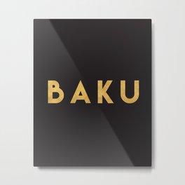 BAKU AZERBAIJAN GOLD CITY TYPOGRAPHY Metal Print