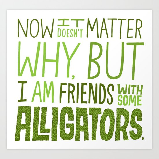 Aligator Friends Art Print