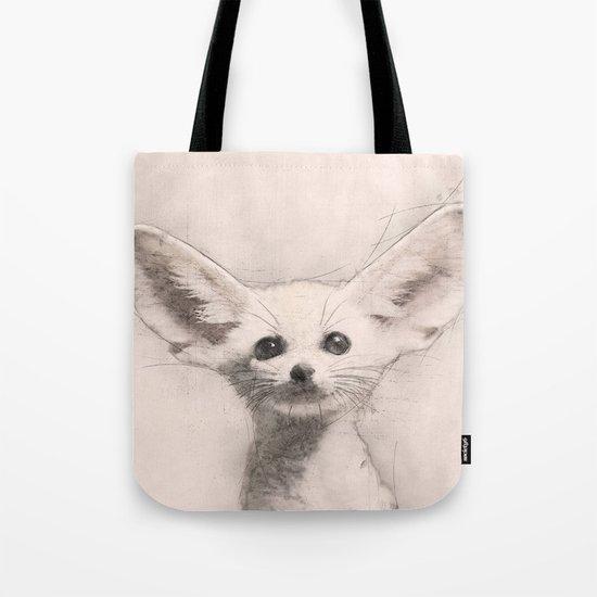 Baby Fennec Fox Pencil Sketch Tote Bag