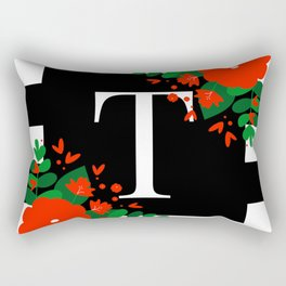 T - Monogram Black and White with Red Flowers Rectangular Pillow