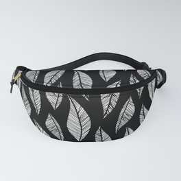 Black and White Tropical Motif Fanny Pack