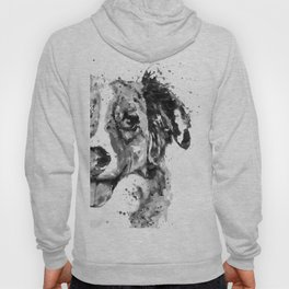 Black and White Half Faced Border Collie Hoody