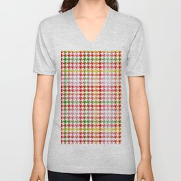 Houndstooth Classic Red Green Yellow Plaid Unisex V-Neck