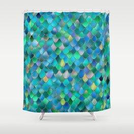 Summer Ocean Metal Mermaid Scales Shower Curtain