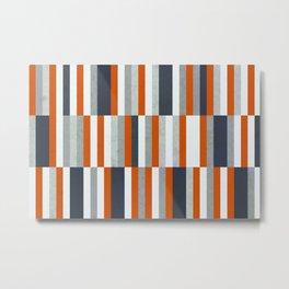 Orange, Navy Blue, Gray / Grey Stripes, Abstract Nautical Maritime Design by Metal Print