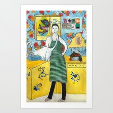 Man with cat in the kitchen Art Print