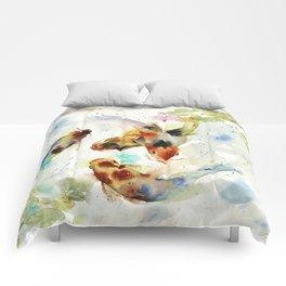 Watercolor Koi Pond Comforters