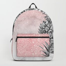 Silver pineapple ombre rose gold glitter and marble Backpack