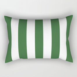 Mughal green - solid color - white vertical lines pattern Rectangular Pillow