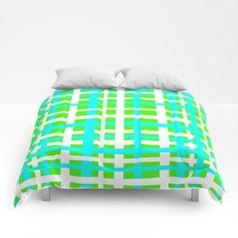Green & Aqua Interlocking Stripes Comforters
