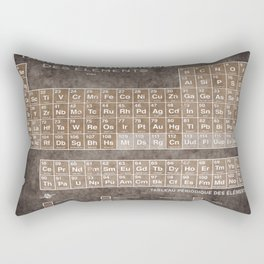 Tableau Periodiques Periodic Table Of The Elements Vintage Chart Sepia Red Tint Rectangular Pillow