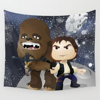 chewbacca Wall Tapestries featuring Han Solo & Chewbacca by 7pk2 online