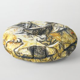 Panel of Rhinos // Chauvet Cave Floor Pillow