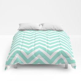 Chevron Stripes : Seafoam Green & White Comforters