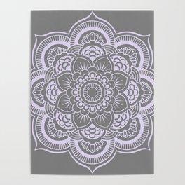 Mandala Flower Gray & Lavender Poster