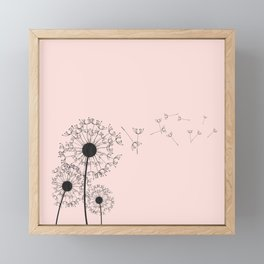 Contemporary Pink Dandelion Drawing Framed Mini Art Print