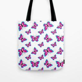 Blue Pink Butterfly Pattern - White Background Tote Bag