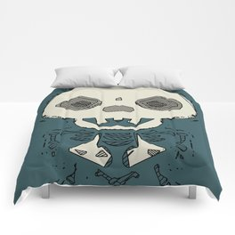 skull and bone graffiti drawing with green background Comforters