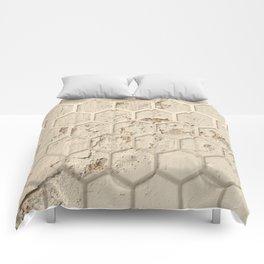 Hexagon on Beige Grunge Wall Comforters
