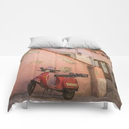 Red Scooter in Sicily Comforters