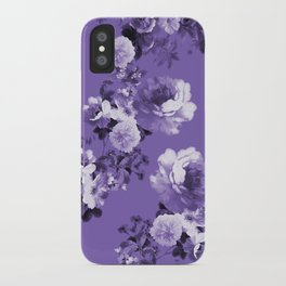 Modern trendy floral ultra violet purple pattern iPhone Case