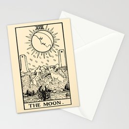 XVIII. The Moon Tarot Card on Parchment Stationery Cards