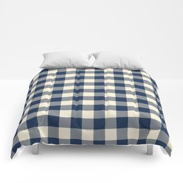 Buffalo Plaid Rustic Lumberjack Blue and White Check Pattern Comforters