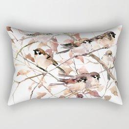 Birds on Fall Tree, Brown Sahara colors birds, sparrow, sparrow birds Rectangular Pillow