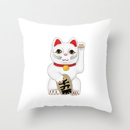 Maneki-Neko Lucky Charm Japanese Cat Throw Pillow
