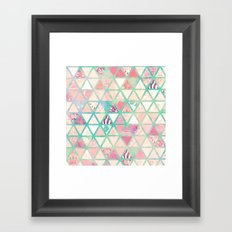 Pink Turquoise Abstract Floral Triangles Patchwork Framed Art Print