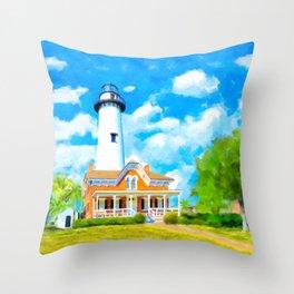 St Simons Island Lighthouse - Georgia Coast Art Throw Pillow